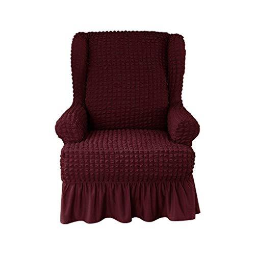 HKPLDE Sesselbezug 1-Stück Weich Sesselhusse Abwaschbar Mit Rock Elegante Rüsche, Hohe Elastische Husse Für Ohrensessel Strapazier Sofaschoner-Rotwein