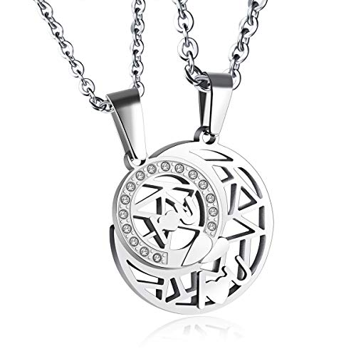 SNOWLIN 316 Stainless Steel Couple Necklace Moon and Sun Pedant Necklace Set for Couples (Silver)