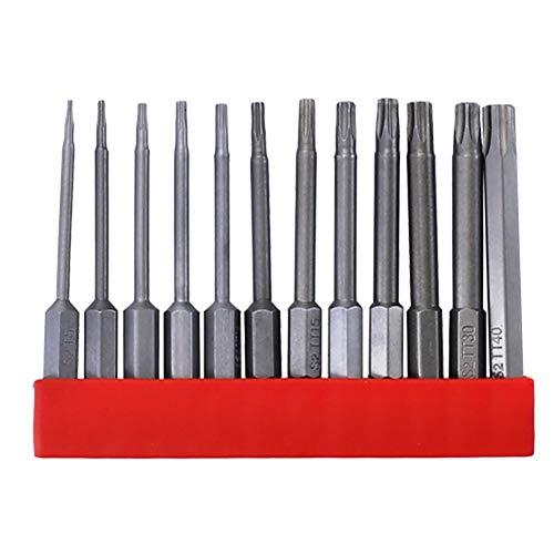 CALIDAKA 12 PcsTorx Bit Set for Screwdriver, 1/4 Inch Magnetic Hex Shank S2 Alloy Steel Drill Bits, Tamper Resistant Star Bits Set S2 Steel, T25, T50, T65, T75, T100, T150