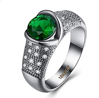 Women's Ring in White and Green Zircon Size 7