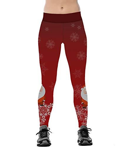 Fascivonne Womens Xmas Santa Claus Legging Running Yoga Leggings L/XL Red