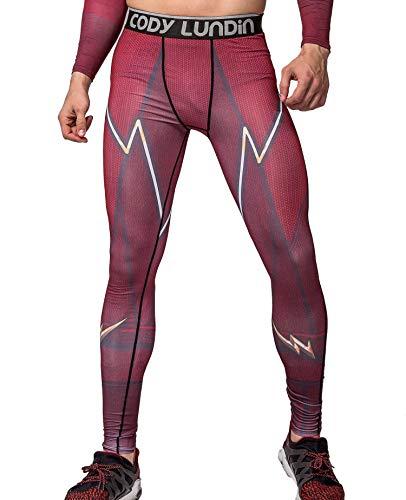 Cody Lundin Männer Blitz/Blitz gedruckt rot Fitness Leggings männliche Partei Dating Laufen Lange Sport Hosen (XXL)