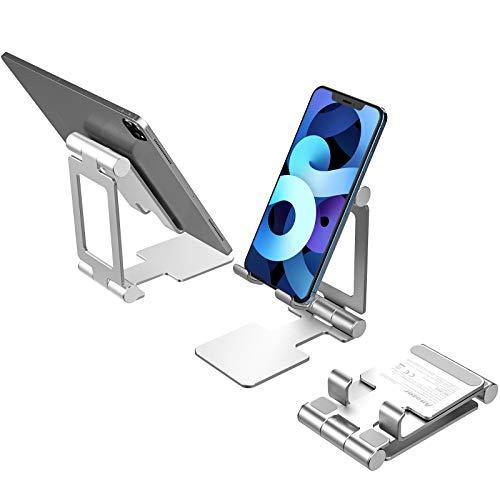 Anozer Handy Ständer faltbar, Multi-Winkel Handyhalterung, Phone Holder kompatibel mit iPhone12 /11/SE, Handy Halter für Samsung, Huawei, Pixel, OnePlus Smartphone, Aluminium Ipad Ständer für Tablet