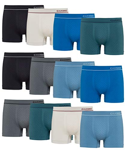 Boxershorts aus Lycra, nahtlos, weich, bequem, für Herren, 12er-Pack, Mehrfarbig M