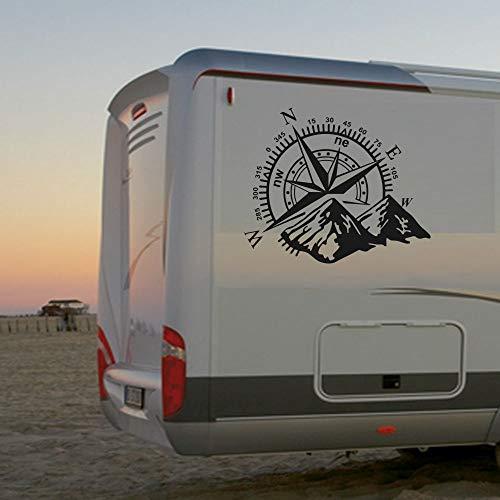 Pegatina Promotion Wohnmobil Wohnwagen Aufkleber Schöne Kompassrose mit Bergen Gebirge Abenteuer Urlaub wandern ca 70cm WOMI WOWA Camping