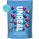 UNREAL Dark Chocolate Peanut Gems | Non-GMO, Vegan Certified, Colors from Nature | 6 Bags