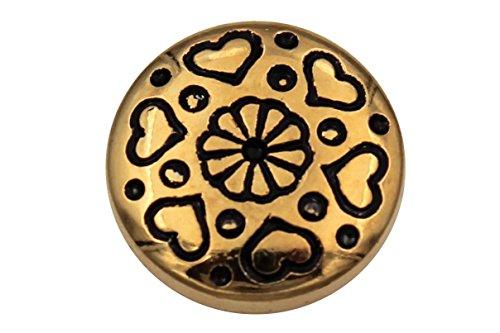 Mooie gouden glanzende kunststof knopen metalen look met kleine hartjes blouseknoppen Dirndl 6 stuks 11mm goud