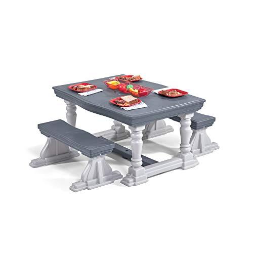 Step2 Picknicktisch Set in Grau | Picknick Tisch & Bänke in Antik / Bauernhof Stil | Picknickbank für Kinder aus Kunststoff