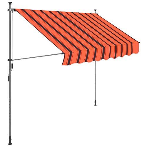 SONGMICS Klemmmarkise, 200 x 130 cm, einrollbare Balkonmarkise, Sonnenschutz, Markise mit Gestell, verstellbare Höhe 2-3 m, orange-schwarz gestreift GSA203OB