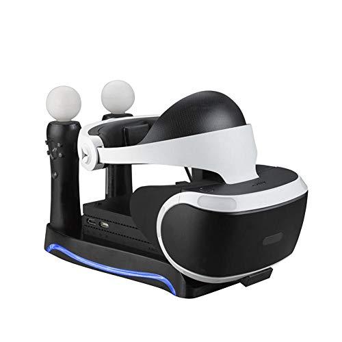 HUVE Base de Mango Multifuncional 4 en 1 Soporte de Cargador para Consola de Juegos de Segunda generación PS4 VR Cargador Mandos PS4 Estación de Carga rápida