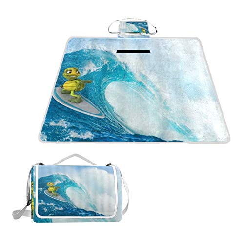 XINGAKA Couverture de Pique-Nique,Ocean Wave Funny Turtle Little Surfing Accompagné de Raising Sunny Sky,Tapis Idéale pour Plage Jardin Parc Camping