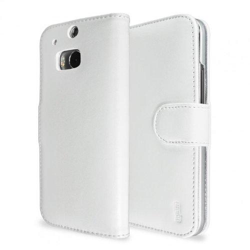 Artwizz SeeJacket Leather Handyhülle designed für [HTC One (M8)] - Schutzhülle zum Aufklappen, im Business-Stil aus Leder mit Magnetverschluss - Weiß