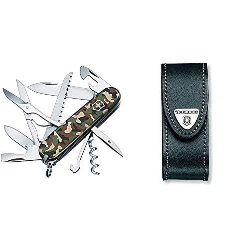 Victorinox Taschenmesser Huntsman (15 Funktionen, Schere, Holzsäge, Korkenzieher) camouflage & Leder-Etui (für Taschenmesser, Gürtelschlaufe, Klettverschluss, schwarz, 3cm x 10cm) schwarz