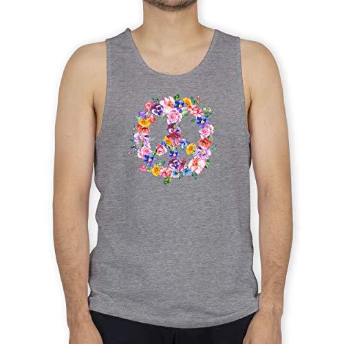 Shirtracer Statement - Peace Zeichen mit bunten Blumen - L - Grau meliert - Love & Peace - BCTM072 - Tanktop Herren und Tank-Top Männer