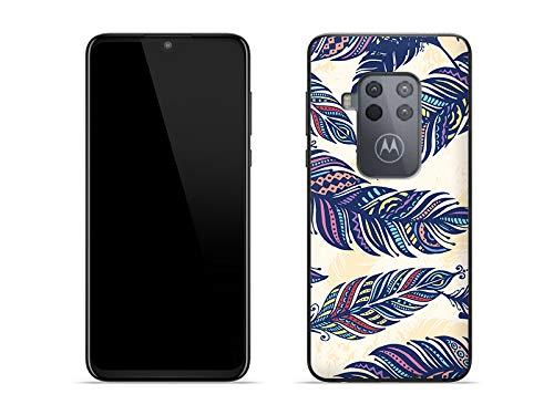 etuo Hülle für Motorola One Zoom - Hülle Fantastic Hülle - Ethno Feder Handyhülle Schutzhülle Etui Hülle Cover Tasche für Handy