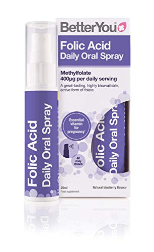 BetterYou Folic Acid Oral Spray | 400μg Methylfolate | Natural Blueberry Favour | 25ml, 700321