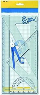 Waytex 931241 Kit de 5 Pièces Règle/2 Equerres/Rapporteur/Compas