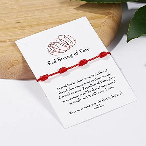CXWK 2 unids/set moda hecho a mano 7 nudos rojo cadena pulsera para protección amuleto de la suerte y amistad trenza cuerda pulsera joyería