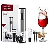 Abridor de botellas eléctrico, kit de abridor de botellas recargable, abridor de botellas eléctrico con cortador de aluminio, vertedor de vino, tapón de vino de vacío y cable de carga USB