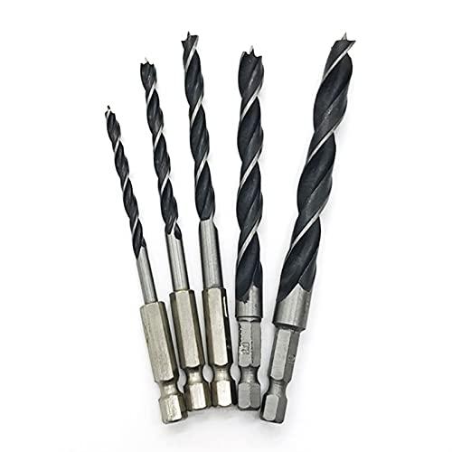 """LIXIAONMKOP 5PC 1/4""""Morus de forage en bois 4-10mm Hex Hex Thework Twist Twist Foret Twist Rapide Change Rapide FITS FITS 1/4"""" 6.35mm Hex Tournevis sans fil"""