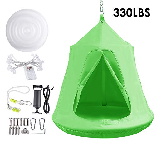 Hanging Tree Tent, Hammock Swing Chair, Portable Tent Play House, with LED Rainbow Lights, Inflatable Cushion, Safety for Adult and Kids Indoor Outdoor, Max Capacity 330LBS (Green)