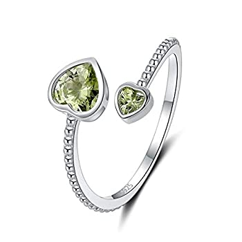 Gifts for Teenage Girls Silver Ring with August Olive Green Heart Birthstone Birthday Gifts Jewelry for Friends & Girlfriend