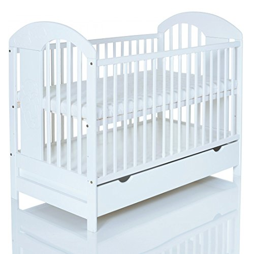 Kinderbett 120x60 cm massiv; 3-fach Höhenverstellbar; 3 Schlupfsprossen seitlich; weiß