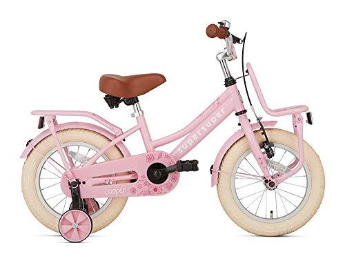 POPAL SuperSuper Cooper Kinder Fahrrad für Kinder   Mädchen Fahrrad 14 Zoll ab 3-5 Jahre  Kinderrad met Stützrädern   Rosa
