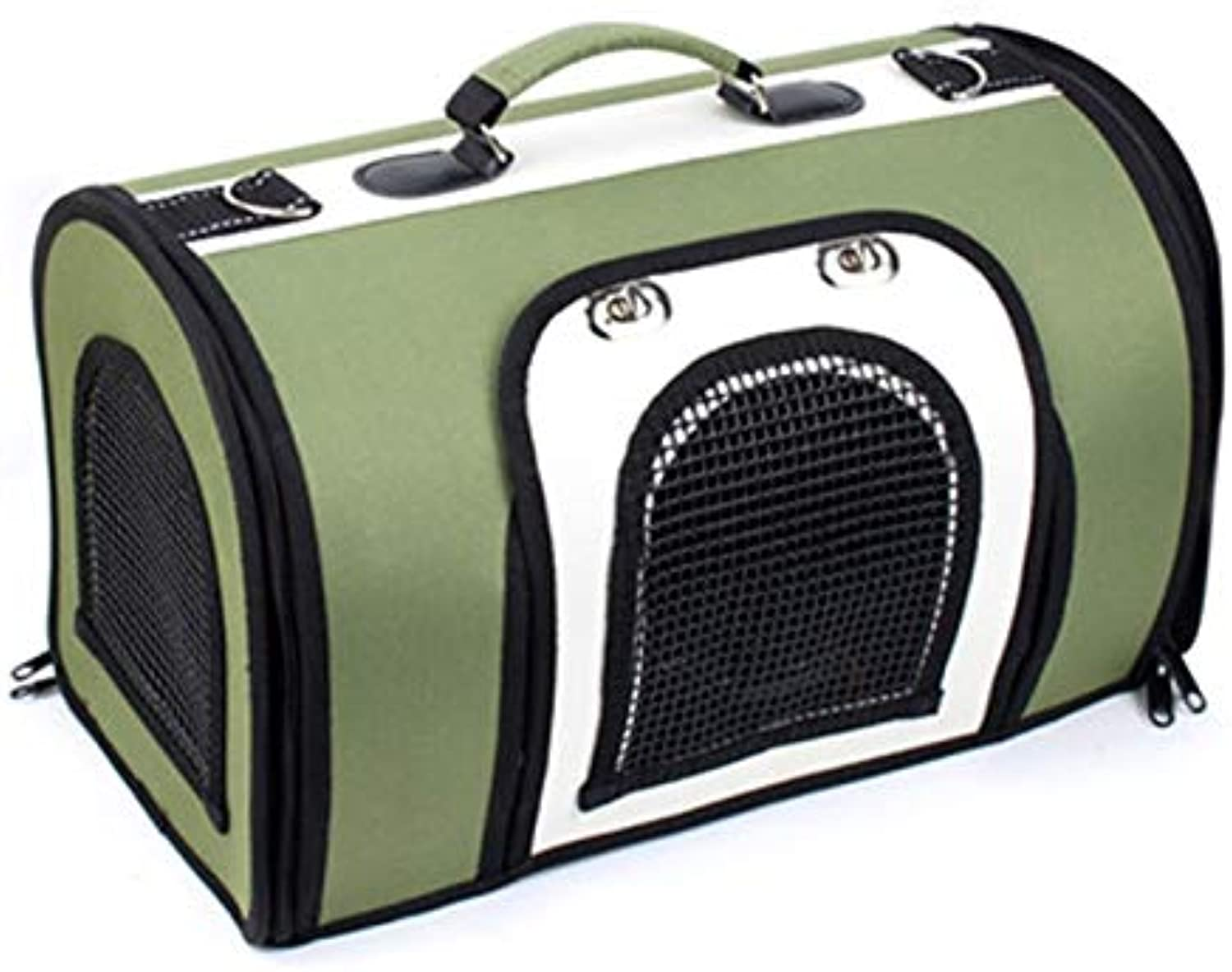 LXFLX Pet cat out travel handbags cat bag takeout bag dog carrying bag cat bag dog bag cat box cage (color   Green and white, Size   L)