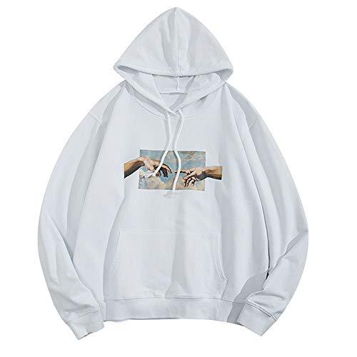 Zaful - Felpa con cappuccio, da uomo, con tasca a marsupio per autunno e inverno Blanc B XL