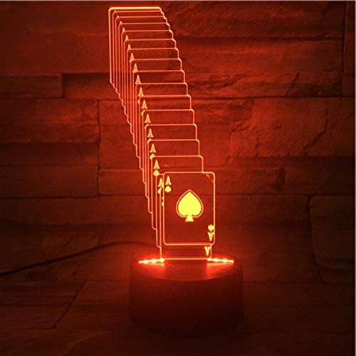wangZJ3D Lampe/Schmetterling/Kämpfer/Hubschrauber/Spielkarten/Laufen/7 Farben ändernde/optische Täuschungslichter/Spielkarten des Halloween-Geschenks