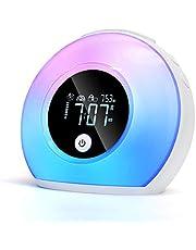 Väckarklocka, nattlampa för barn, digital klocka med LED-lampor för sovrum, LED-väckarklocka med Bluetooth-högtalare, justerbar ljusklocka bra present till tonåringar barn