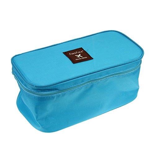 Trousse de Toilette Portable Grande Capacité Sac de Rangement Sac de sous-Vêtement Voyage/Maquillage Oxford Imperméable avec Fermeture Zippé - Bleu Clair