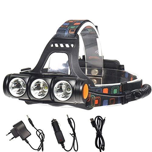 Lampe Frontale LED Rechargeable Lumière De Pêche 20w 1500lm Éblouissement Convient à La Chasse à La Pêche Camping, Randonnée Adaptateur/Chargeur De Voiture/Câble USB