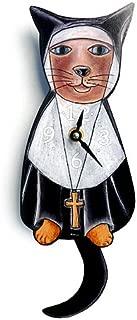 Sister Mary Meow (Nun Cat) Swinging-Tail Pendulum Wall Clock