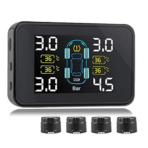 Reifendruckkontrollsystem Auto Solar Power TPMS Reifendruck Kontrollsystem Automatisches Abschalten Bildschirm Reifendruckmesser Mit 4 Sensoren Anzeige Passend Für Alle Modelle Unter 6.8BAR