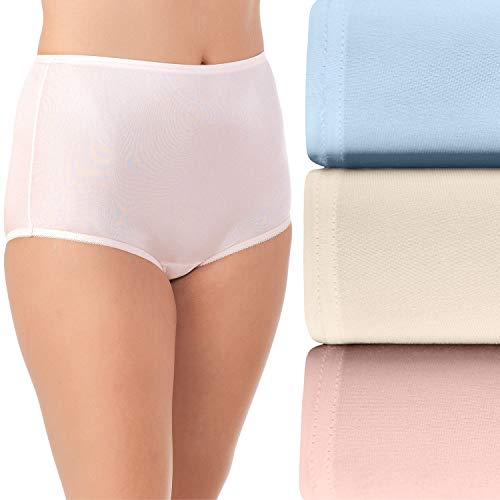 Vanity Fair Women's Perfectly Yours Traditional Nylon Brief Panties, 3 Pack - Pink/Blue/Candleglow, 8