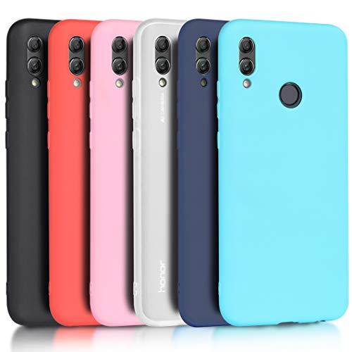 Wanxideng - 6X Cover Huawei P Smart 2019 / Honor 10 Lite [Set di 6 Pezzi], Custodia Morbido Opaco in Silicone TPU - Matt Silicone Case [ Nero + Traslucido + Rosa + Verde Menta + Blu Chiaro + Verde ]