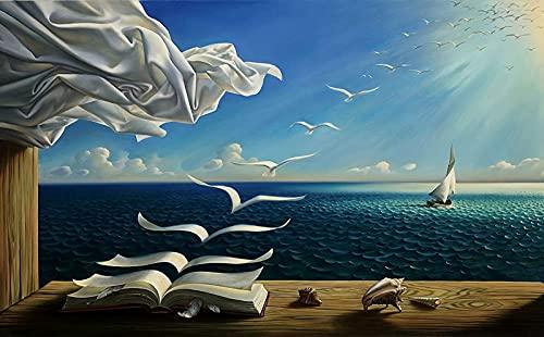 HGUT Cuadro en lienzo Salvador Dali Sea Waves libro pintura sobre lienzo lienzo cuadro arte mural, cuadro para sala de estar, decoración moderna del hogar, póster sin marco (60 x 90 cm)