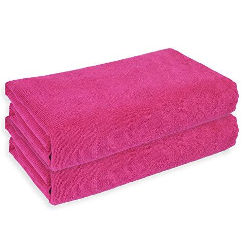 Belmalia 2 Mikrofaser Hand-Tücher XXL sehr saugfähig und schnell-trocknend 180 x 75 cm Pink