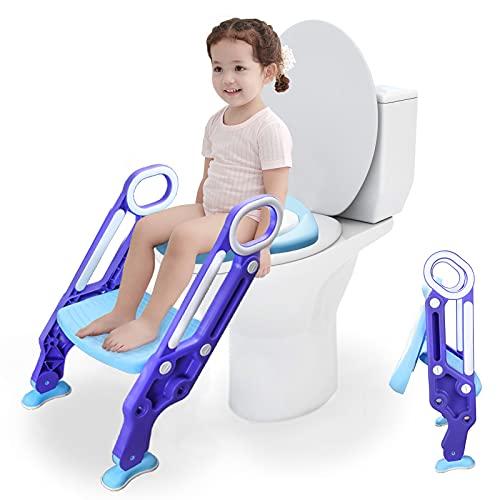 SONUG Toilettensitz kinder mit treppe, Töpfchentrainer, WC Trainer, Kinder-Töpfchen mit Leiter 38-42cm Rutschfest stabil klappbar und höhenverstellbar für 1-7 jährige Justierbarer