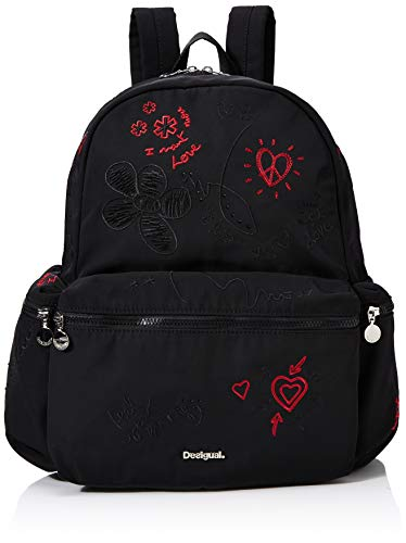 Desigual Damen Backpack Dejavu Oss modischer Rucksack, Schwarz (Negro), 39x18x30 cm