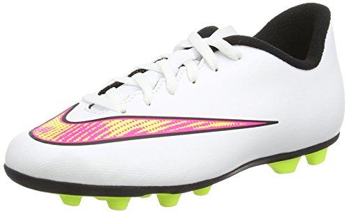 Nike Mercurial Vortex II FG-R, Botas de fútbol para Chico, Blanco Blanco Blanco Volt Hyper Rosa Negro, 38 EU