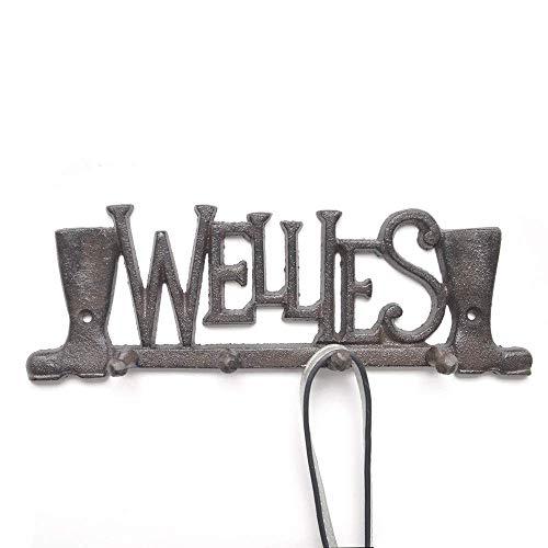 ZHICHUAN Escudo en Forma de Ganchos Botas de Vaquero Colgar de la Pared Decoración Conjunto de 4 Rústica Del Arte Decorativo Ganchos de Pared Creativo Puerta de Entrada Ganchos Eleg