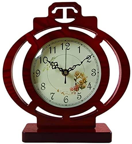 Scultura,Reloj De Escritorio para Sala De Estar / Hogar Pasado De Moda / Reloj De Escritorio / Movimiento Silencioso Elegante Y Generoso Sala De Estudio Marrón Rojo 10 2 Pulgadas Sala De Estar Escrit