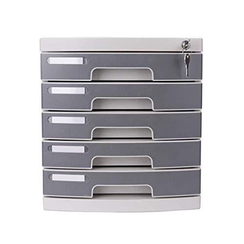 LHQ-HQ Cajón de plástico para cosméticos, organizador de escritorio con cerradura, caja A4, para oficina/color: gris (tamaño: 12 x 15 x 13 pulgadas)
