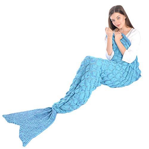 Grefine Filles Crochet Tricoté La Laine Sirène Queue Couverture avec Écaille de Poisson, Doux Chaud Canapé Blanket Sac de Couchage All Seasons en 4 Couleurs 81'x 36' (Bleu)