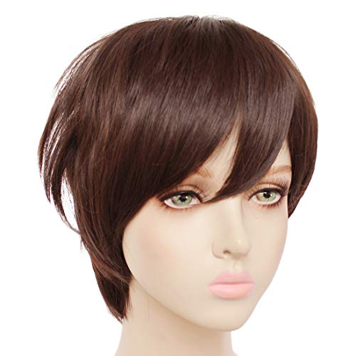 JoneTing Brown Wig Cosplay Wig for Anime Cosplay Costume Party Wigs Short Straight Brown Wig Men