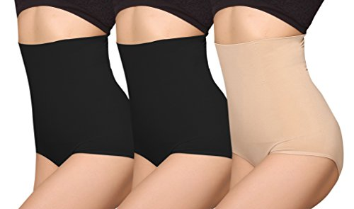 iloveSIA Women's C-Section Recovery Slimming Underwear Tummy Control Panties 2Black+Nude Size L