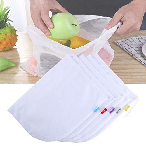 10CPS/Set Bolsas Reutilizables De Algodón para Vegetales En Casa De La Cocina Bolsas De Malla De Almacenamiento De Frutas Y Verduras con Cordón Lavabl